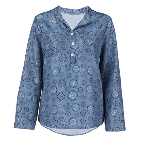 (Toimoth Plus Size Women Print Vest Long Sleeve Polka Dot Button Blouse Pullover Tops Shirt(Blue,XXL))