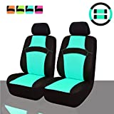 NEW ARRIVAL- CAR PASS RAINBOW Universal Fit Car Seat Cover -100% Breathable With 5mm Composite Sponge Inside,Airbag Compatible (9pcs, Mint Blue)