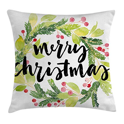 Christmas Wreath Throw Pillow Cover