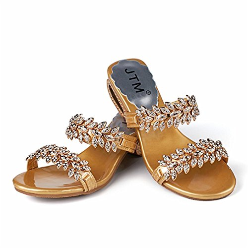 Toe Open Crystal Pantofole Party oro Kword Scarpe E Infradito Alti Pantofole Sexy Tacchi con Sandali Strass Donna Sandali UqYB1E