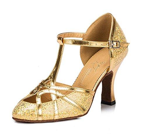 Tda Donna Punta A Punta T-strap Moda Glitter Pelle Pu Ballerina Latino Tango Party Wedding Pumps Oro