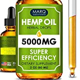 Hemp Oil Drops (5000MG) - Best Natural Hemp Seed Oil - Premium Colorado Seed Extract - Only Natural Ingredients - for Pain and Inflammation Relief, Reduces Stress and Anxiety, Provides Restful Sleep.