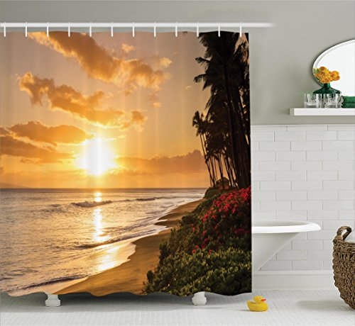 Ambesonne Hawaiian Decorations Shower Curtain Set, Warm Tropical Sunset On Sands of Kaanapali Beach in Maui Hawaii Destination for Travel, Bathroom Accessories, 84 Inches Extralong
