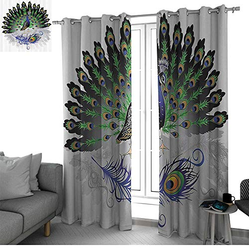Peacock Decor Collection Kitchen/Bedroom Window Treatments Home Decoration Male Peacock with Open Tail Reflection Illustration Crowned Majestic Bird Tropics Image Boys Room Decor Navy Green