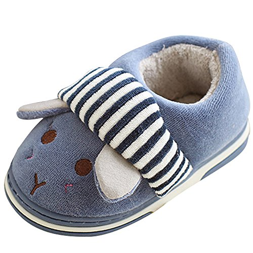 SITAILE Cute Home Shoes, Kids Fur Lined Indoor House Slippers Warm Winter Home Slippers for Boys Girls, Dark Blue-02 16-17