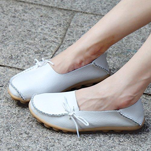 Joansam Dames Sportschoenen Rundleer Instappers Loafers Bootschoenen Flats Wit
