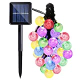 Solar String Lights,Qkfly Crystal Ball 23ft 50 LED Waterproof Outdoor Decrotive Lights String for Indoor/Outdoor, Patio, Lawn, Garden, Christmas, and Holiday Festivals (Blue) … (Multi Color Crystal)