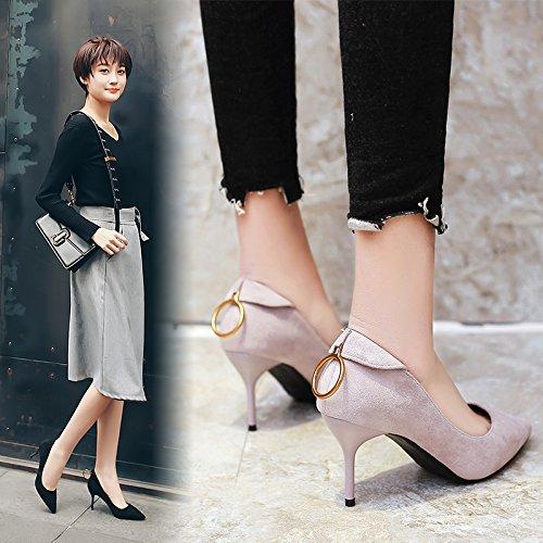 punta de femeninos círculo negro zapatos singles primavera tacón Gris de Punta 7cm alto fina con tacones zapatos gris con fina w0vTqSFAtW