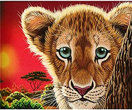 baodanla Pintura al óleo sin Marco Full Round Animal Lion Ng Kit Sticker Home D60x90cm