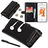 """Urvoix iPhone 6 Plus / iPhone 6S Plus Case, Organizer PU Leather Clutch Purse with Detachable Case, Card Slots and ZIP Pouch Cover for iPhone6 Plus/6S Plus(5.5"""")"""