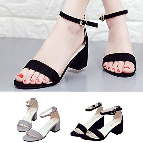 Sandals Thick with Chunky Shoes Black Single Band Strap Heel Ankle AmyDong Women Sandal Sandals I0w6qPvIx