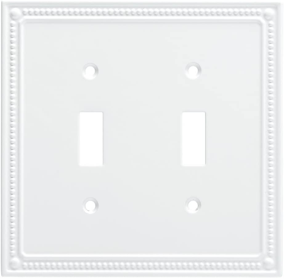 Franklin Brass W35061-PW-C Classic Beaded Double Switch Wall Plate/Switch Plate/Cover, White