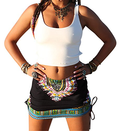 Womens African Totem Printed Ethnic Dashiki Skirt Boho Ethnic Short Summer Beach Skirt Pencil Skirt Black S -