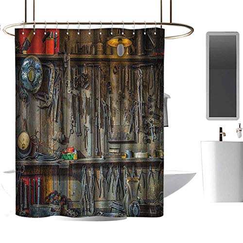alisoso Man Cave Decor Vintage Tools Hanging On A Wall in A Tool Shed Workshop Fixing Equipment Multicolor Fabric Shower Curtain W36 x L72 from alisoso