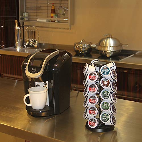 Coffee Pod Holder Carousel Holds 40 Single Cup Coffee Pods in Matte Black by Blacksmith Family (Image #3)