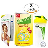 Almased - Meal Replacement Shake - Soy Protein Powder for Weight Loss - Shake for Weight Management (3 pack +Blender Bottle Shaker and Diet Recipe Book)