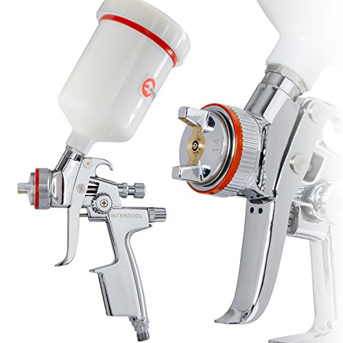 INTERTOOL HVLP Professional Gravity Feed Air Spray Gun 1.4 mm Nozzle Size 600 cc Plastic Cup PT-0100 ()