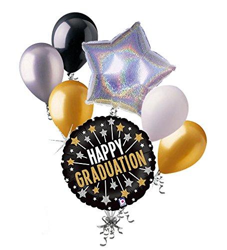 7 pc Glittering Happy Graduation Balloon Bouquet Congratulations Congrats Grad