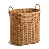 The Basket Lady Narrow Wicker Tote Basket, L, Toasted Oat