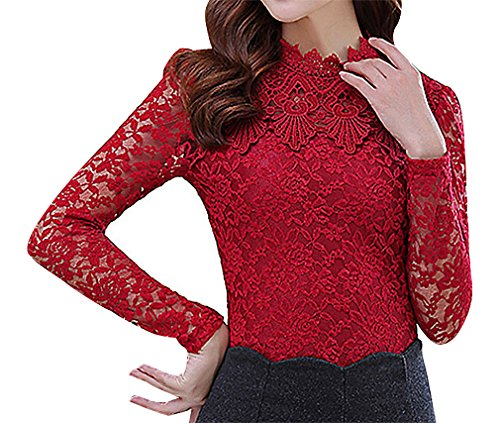 US&R Women's Spandex Polyester Floral Lace Stand Collar Full Sleeve Slim Top, Red ()
