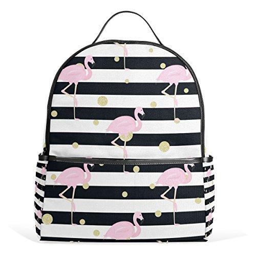 Dragon Sword Flamingos Gold Polka Dot Stripes Laptop Backpack Casual Shoulder Daypack for Student School Bag Handbag - Lightweight