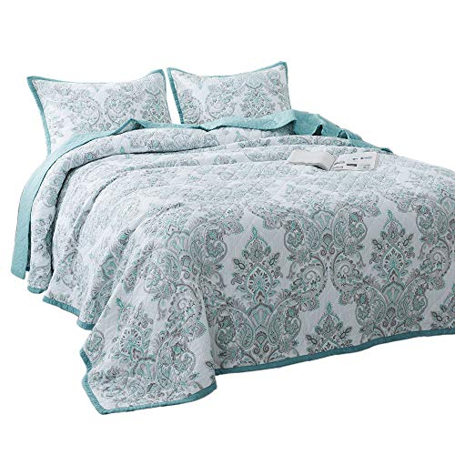 KASENTEX Luxury 3 Piece Quilt Set - Contemporary Oversized Bedding with Lavish Floral Printed Design, 100% Cotton Soft & Warm Reversible Bedspread (Light Blue, Queen + 2 Shams 102x106+20x26 x2) ()