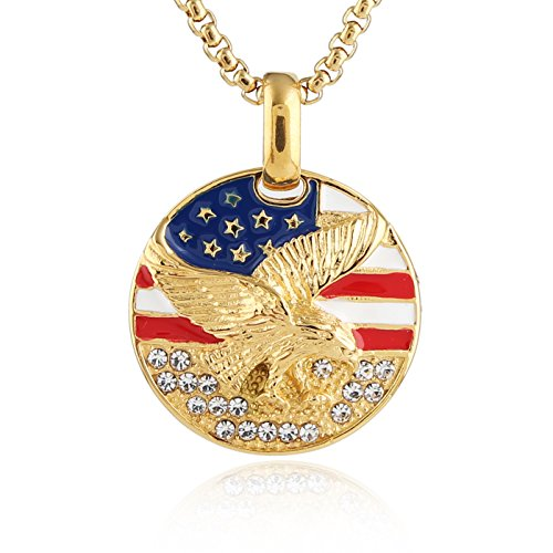 - HZMAN Men's 18k Gold Plated Stainless Steel 3D Eagle American Flag Dog Tag CZ Pendant Necklace (Coin Medal - B)