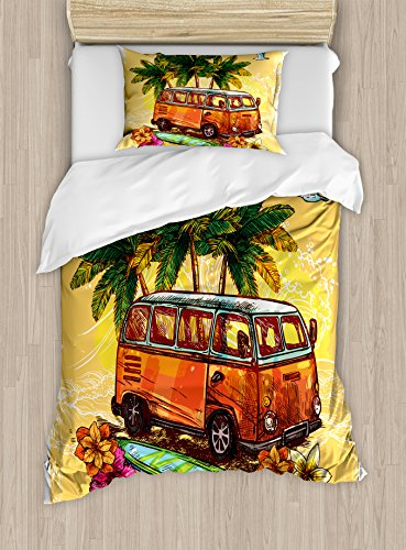 - Ambesonne Surf Duvet Cover Set Twin Size, Hippie Classic Old Bus with Surfboard Freedom Holiday Exotic Life Sketchy Art, Decorative 2 Piece Bedding Set with 1 Pillow Sham, Yellow Orange