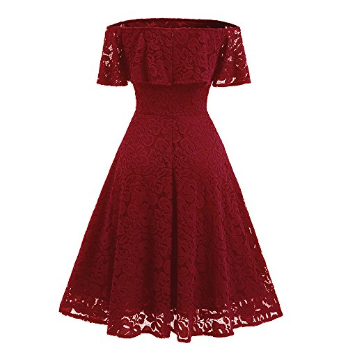 Dresses Women 1940s Dress Floral Shoulder Casual Lace MRELT Vintage Off Red Line A BPq4wdAx