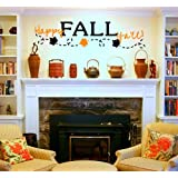 Happy Fall Y'all LARGE Vinyl Wall Decal for Autumn or Thanksgiving Holiday Decoration Décor Sticker Seasonal