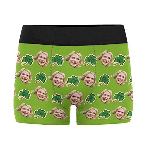 Custom Men's Funny Face Novelty Boxer Briefs Shorts Irish St. Patrick Day Shamrock Clover Trefoil Leaves Green Printed with Photo XL