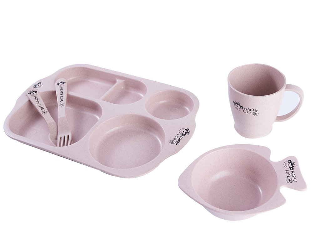 LLZJ Babies Tableware Dishes Sets Bowls Cup Bamboo Fiber Tray Fork Spoon Tip Children's Separate Cutlery Toddler Feeding Training Self-Feeding,Pink
