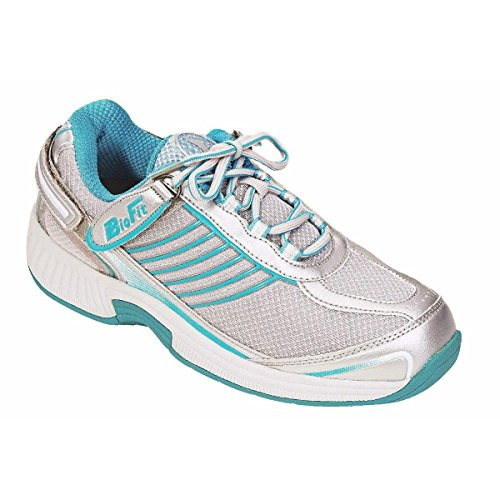 Orthofeet Verve Comfort Wide Orthopedic Diabetic Athletic Shoes for Women Turquoise Fabric & Leather 8.5 M US