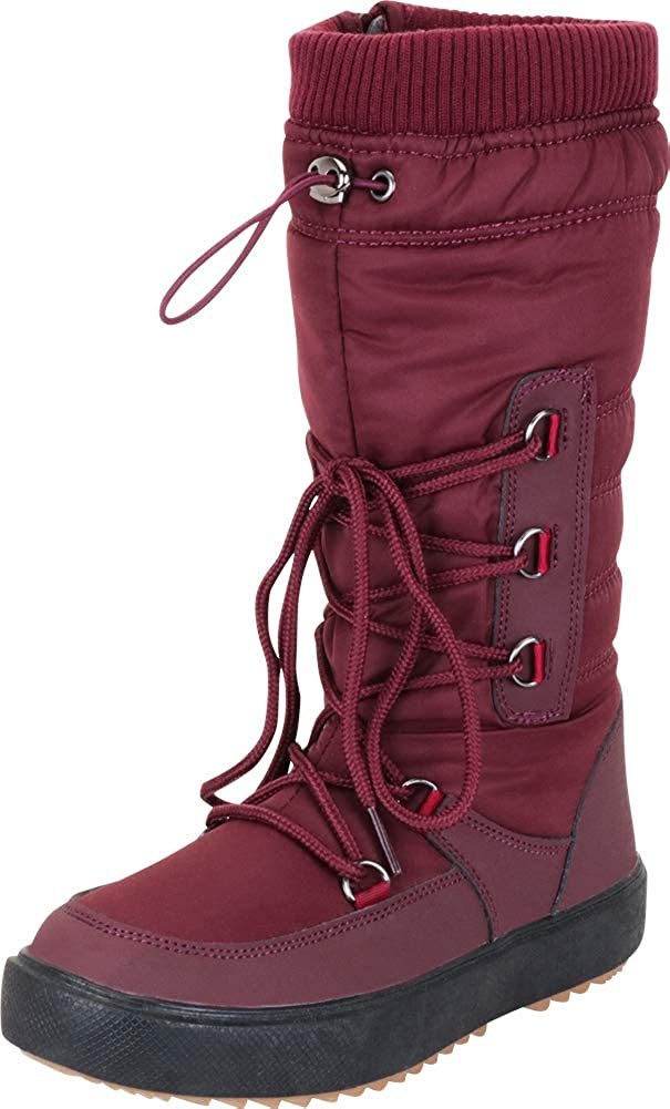 Wine Cambridge Select Women's Quilted Puffer Drawstring Lace-Up Mid-Calf Winter Snow Boot