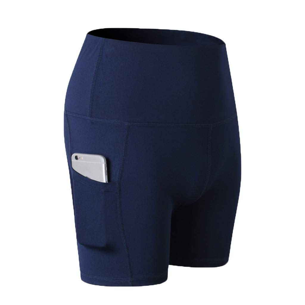 Yago Pants for Women, High Waist Out Pocket Solid Color Workout Sports Running Fitness Short Pants (S, Navy)