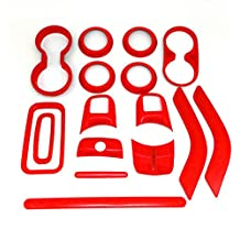 Danti 16 Pcs Interior Decoration Trim Kit for Jeep Wrangler Cab 2 Door 2011 2012 2013 2014 2015 2016 (Red)