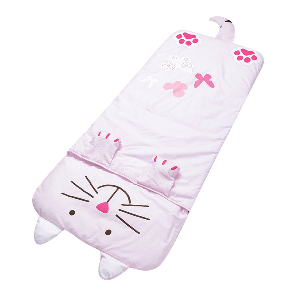 Lestore Kids Boy and Girl Big Cartoon Sleeping Bag Bunting Bags 140cm*60cm (D-pink cat)
