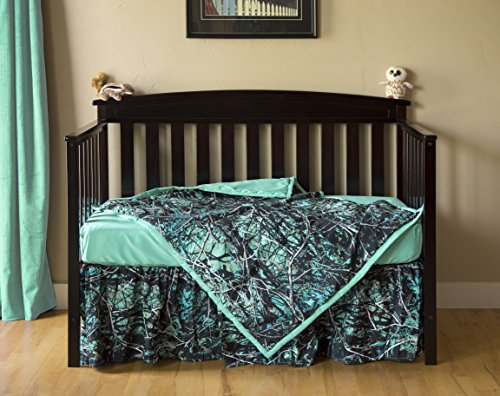 Carstens Muddy Girl Serenity Camo 3 Piece Crib Sheet Set, Turquoise