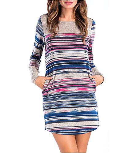 Starw Women's Long Sleeves Casual Striped Mini Dress with Pockects Casual Long Tunic Tops, BJ11034