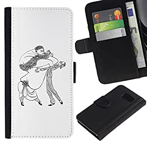 iBinBang / Flip Funda de Cuero Case Cover - Dance Caricature Man Woman Big Drawing Art - Samsung Galaxy S6 SM-G920