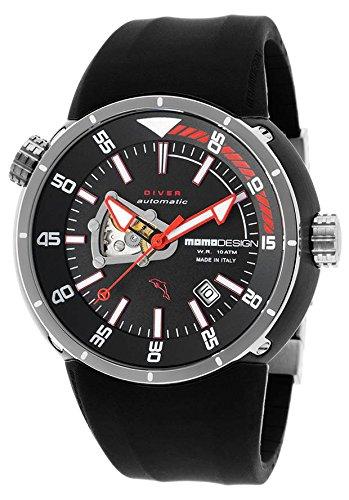 Momo Design Md1007l-Bk-11 Men's Diver Pro Auto Black Rubber And Dial Watch