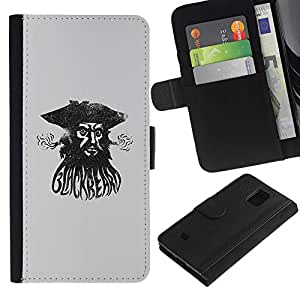Be-Star la tarjeta de Crédito Slots PU Funda de cuero Monedero caso cubierta de piel Para Samsung Galaxy S5 Mini (Not S5), SM-G800 ( Pirate Sea Captain Watercolor Black )