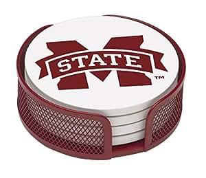 Thirstystone VMSSU2-HA22 Stoneware Drink Coaster Set with Holder, Mississippi State University