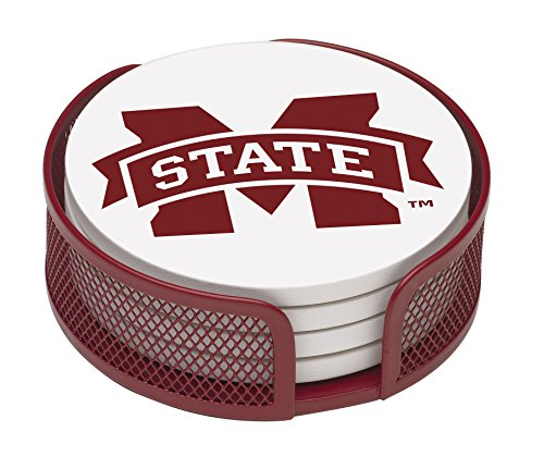 Thirstystone VMSSU2-HA22 Stoneware Drink Coaster Set with Holder, Mississippi State University (Mississippi State Bulldogs Clocks)