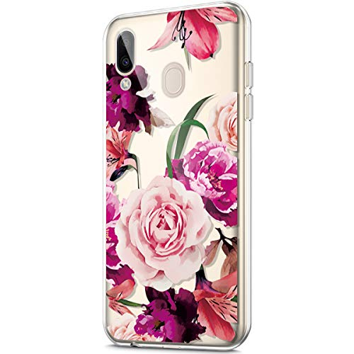 Price comparison product image ikasus Case for Galaxy M20, Crystal Clear Art Panited Design Soft & Flexible TPU Ultra-Thin Transparent Soft Rubber Gel TPU Protective Case Cover for Galaxy M20 Silicone Case, Rhododendron peony flower