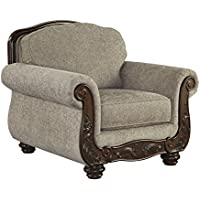 Ashley Cecilyn Collection 5760320 Living Room Chair with Fabric Upholstery Rolled Arms Piped Stitching Carved Detailing and Traditional Style in