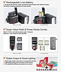 Neewer LI-ION BATTERY*High-Speed Sync*MASTER/SLAVE E-TTL Camera Flash Speedlite Kit for Canon 5D Mark 2 3 6D 50D Digital Rebel T3 SL1 T5i Xti / EOS 1100D 600D 400Dand other Canon DSLR Cameras
