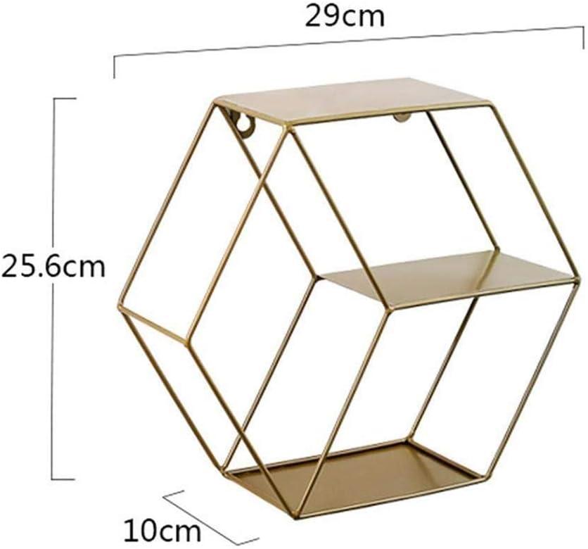 Color : Copper Qingjinsd Bastidores de Almacenamiento Estanter/ía De Metal Hexagonal De Hierro Forjado Montado En La Pared Bastidor Flotante Estante De Almacenamiento Colgante Decorativo Estante