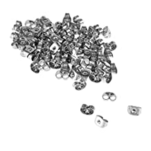 100Pcs Earring Backs Butterfly Clutches Surgical Steel Ear Nuts Sliver