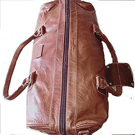 Infinity Leather Weekend Travel Bag Brown